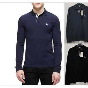 NEW! Auth BURBERRY MEN's navy  polo Long sleeve M